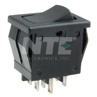 NTE 54-073 ROCKER SWITCH DPDT ON-NONE-ON 8A 125VAC