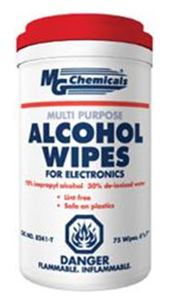MG CHEMICALS 8241-T 75-CT ALCOHOL WIPE TUB